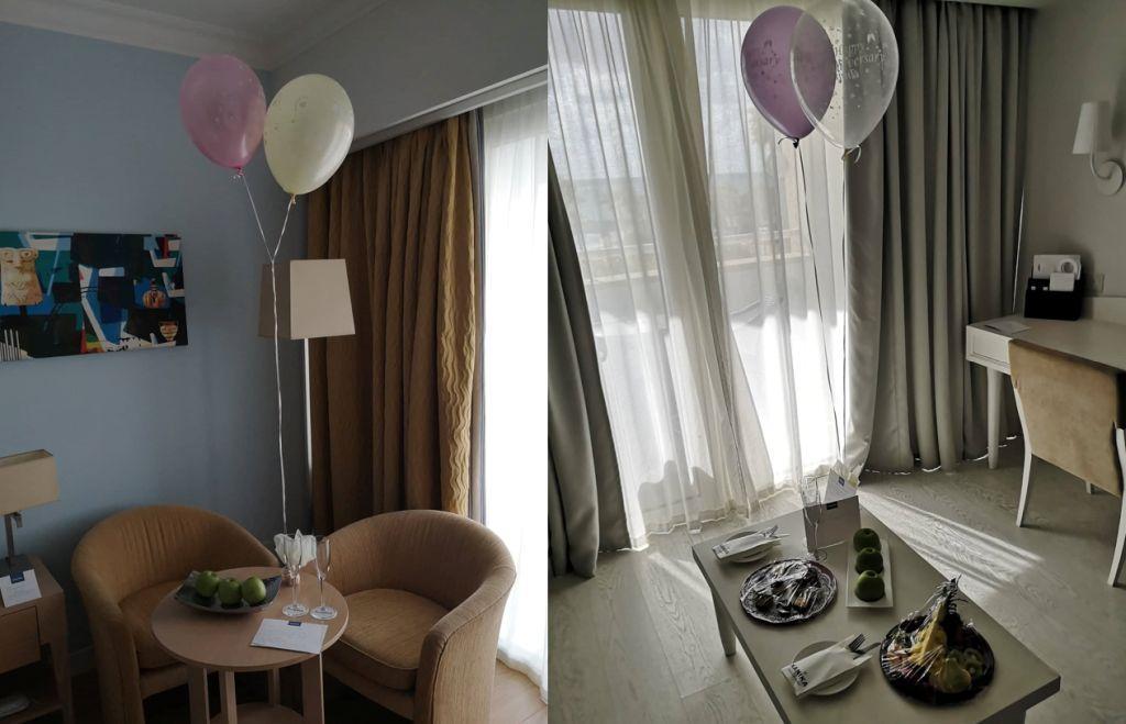 Kaunistatud hotellitoad (õhupallid ja suupisted)