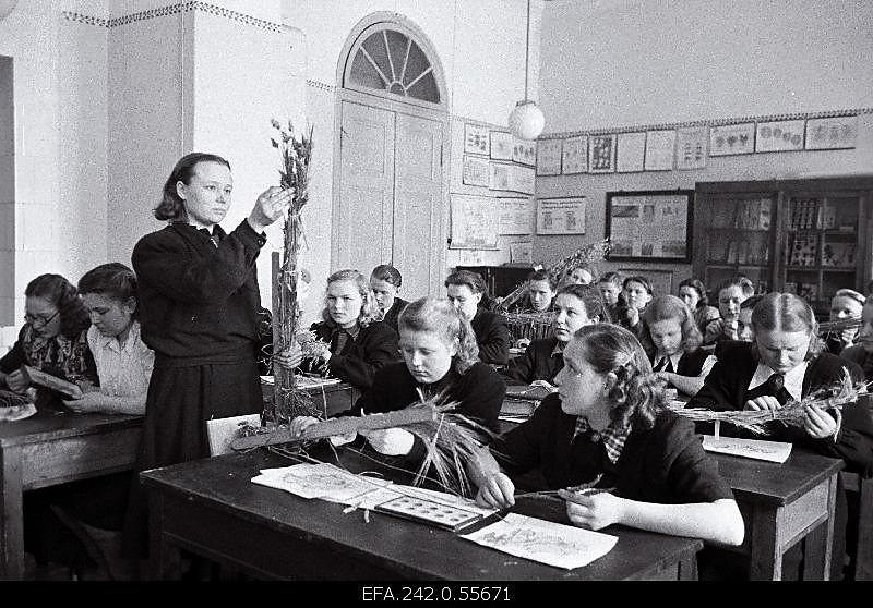 Õpetaja näitab klassis õpilastele kõrrelisi  (mustvalge pilt)